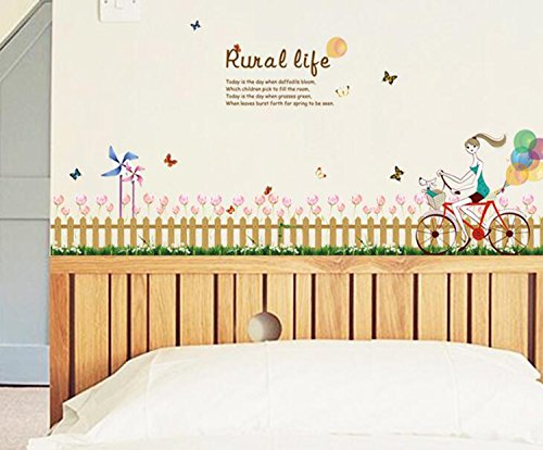 Ikeelife Home Decorative Mural Pvc Removable Cycling Girl Fence Tulip Grass Skirting Board Wall Sticker Kitchen Wall Art Decal Paper 50x70cm 19 7x27 58 Buy Online In Mongolia At Mongolia Desertcart Com Productid 44386900