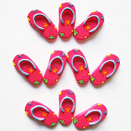 wholesale 10pcs Summer Beach Hot Pink Flip Flop Flower Flatback Resin Scrapbooking Cabochons DIY Hair Bow Center Decoration Embellishments Crafts