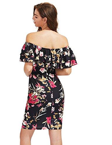 Floerns Floral Hérisser Au Large Robe Moulante Sexy Partie D'épaule Des Femmes Noires 1