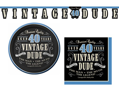 Vintage Dude 40th Birthday Party Supplies Bundle - 3 Items: Appetizer/Dessert Plates, Napkins & Decorative Banner