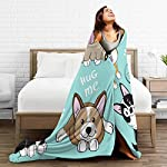 "Delerain Dog Corgi Pug Border Collie Flannel Fleece Throw Blanket 50""x60"" Living Room/Bedroom/Sofa Couch Warm Soft Bed Blanket for Kids Adults All Season 10"