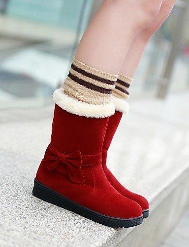 Cn36 Uk6 Casual Xzz Cn39 Botas us8 Uk4 Punta Negro Red Redonda Zapatos C A Mujer Eu39 Red La De Amarillo Vestido Moda Rojo Vellón Plataforma us6 Eu36 wxwqRPA4