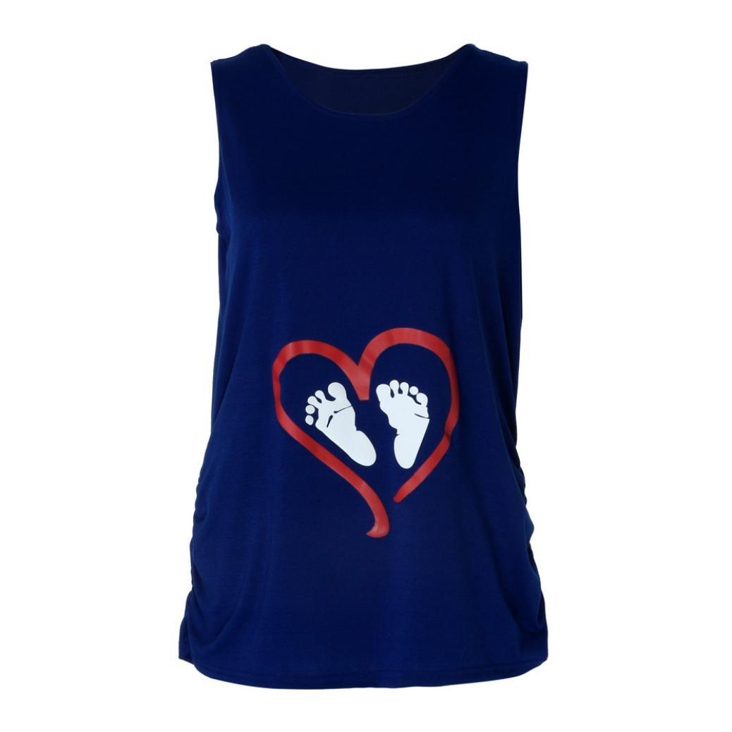 Challyhope Pregnancy T-Shirt, Women Cute Love Footprint Tank Tops for Maternity Shirt Casual Tunic Blouse