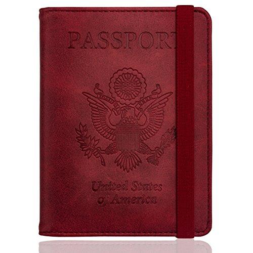 WALNEW RFID Passport Holder Cover Traveling Passport Case (Red)
