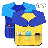 Afeelrich Childrens Kids Waterproof Play Apron Long Sleeve Art Craft Smock with Large Pocket-Painting, Baking, Feeding Smocks Bibs5-7Years Old Unisex Infant Toddler Baby(2pack)