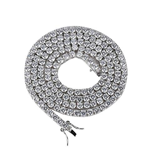 GUCY Hip Hop Jewelry Tennis Letters Pendant Chain Iced Out CZ Lab Diamond Letter Chains Custom Necklace Name for Men Women(S-20'Tennis - Rope Zirconia Cubic