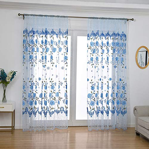 Embroidered Sheer Curtains for Living Room 63 inch Long Geometric Leaf Embroidery Voile Window Curtains Rod Pocket Bedroom Window Treatment 40x80 inch 1 Panel (Purple Curtain Rod Set)