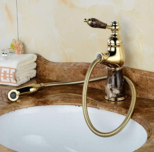 4 CZOOR Basin Faucet Flexible Pull Out Faucet golden Marble Polish Marble Stone Luxury Kitchen Sink Mixer Faucet Bathroom Faucets,7