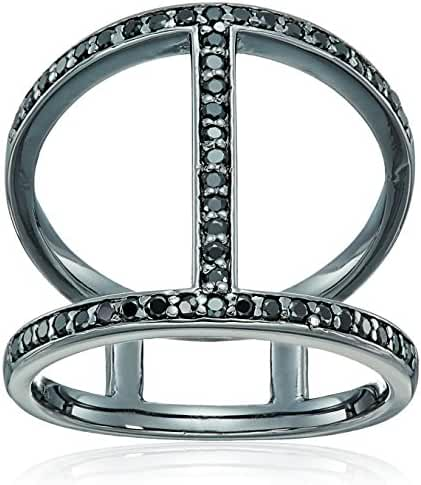 Sterling Silver Gun Color Round Black Cubic Zirconia Ring , Size 7