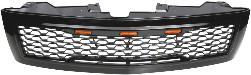 IKON MOTORSPORTS 2008 2009 2010 2011 2012 Grille Compatible With 2007-2013 Chevrolet Silverado 1500 Front Bumper Hood Mesh Grill with Amber Signal Light Gloss Black