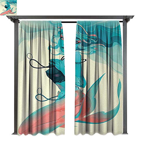 (shenglv Mermaid, Outdoor Blackout Curtains, Portrait of Gothic Style Mermaid with Makeup Mythology Fairytale Art Print, Outdoor Privacy Porch Curtains (W120 x L108 Inches, Teal Pink)