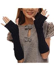 Women'S Arm Warmers Long Gloves Knitted Half Warmer Glove Twist Crochet Winter