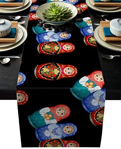 テーブルランナー 黒い ロシア人形 テーブルクロス モダン 北欧風 プレースマット レストラン用 滑り止め 上品 断熱 食卓飾り お食事マット おしゃれ インテリア 36x183cm