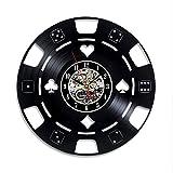 Handmade Solutions EU Poker Chip Cards Vinyl Record Clock - Birthday Gift Gamblers - Las Vegas Casino Themed Decor