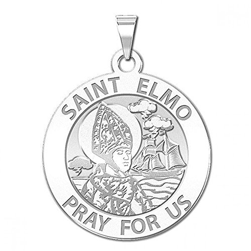 PicturesOnGold.com Saint Elmo Round Religious Medal - 2/3 Inch Size of Dime, Sterling Silver (St Medal Elmo)