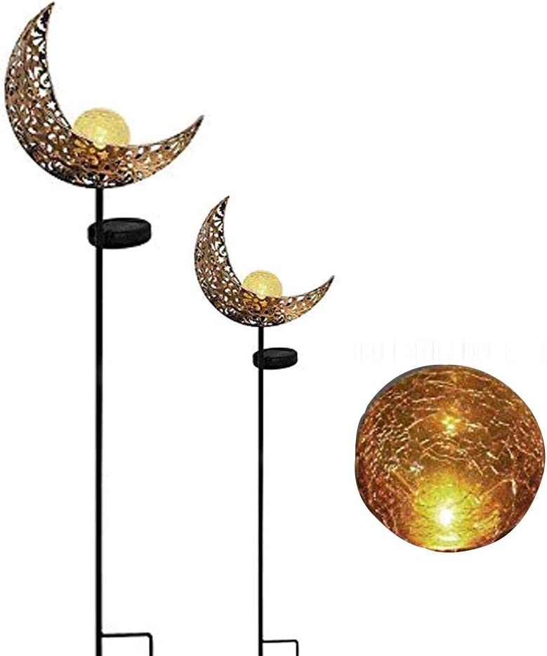 TEALP Solar Pathway 7 Colors Lights Outdoor - Moon Crackle Glass Globe Garden Stake Metal Lights, Led Solar Landscape Lights, Waterproof Auto On/Off Sun Powered Lighting Decorate Yard, Patio(2 Pack)