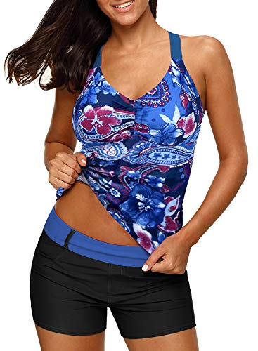 Dearlove Women's Paisley Print Blouson Tankini Tops Bathing Suit Sporty Padded Push Up Swimsuit Top Sky Blue Small