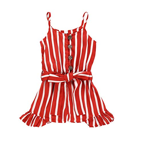 Toddler Kids Girl Red Striped Button Down Romper Jumpsuit Halter Ruffle Bow Belt Playsuit Overall Outfits Clothes (Red, 5-6 Years)
