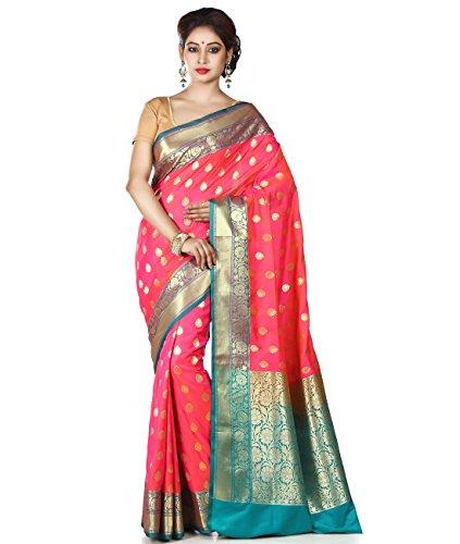 Maahir Garments Exclusive Indian Ethnicwear Fuchia Coloured Banarasi Katan Silk Handloom Saree by Maahir Garments