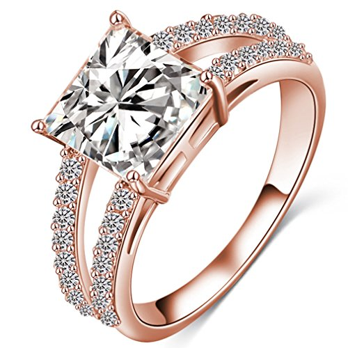 (FENDINA Womens Ciss Cross Solitaire Wedding Engagement Rings Best Promise Rings for Her - Emerald Cut CZ Crystal - 18K Rose Gold Plated)