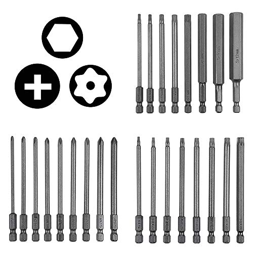 25 Pack Long Magnetic Screwdriver Bit Set, Rocaris 4 Inch Drill Screw Driver Power Tools Kit - 8 pcs Hexagon Hex Head, 8 pcs Torx Security, 9 pcs Cross Phillips - Quick Change 1/4-Inch Hex Shank