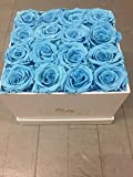 Turquoise Preserved Roses in Elegant White Square Box