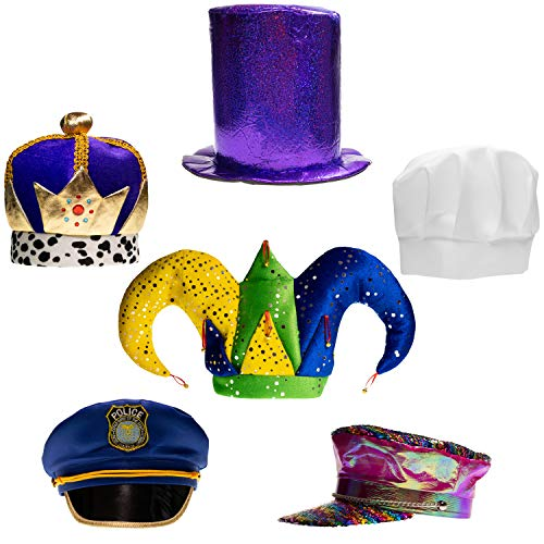 Assorted Party Hats Set of 6 Funny Dress Up & Costume Hats for Adults, Teens, Photobooth, Party, Weddings, etc