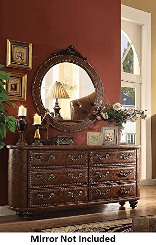 Acme Furniture Varada Crescent 25165 64'' Dresser with 6 Drawers Brown PU Leather Upholstery Pumpkin Bun Legs Nail Head Trim and Solid Wood Construction in Antique Cherry by Acme Furniture