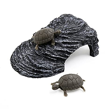 DealMux Gris oscuro paisaje Resina Basking Rampa tortuga Suba Piedra Hábitat ornamento para peces de acuario tanque: Amazon.es: Productos para mascotas