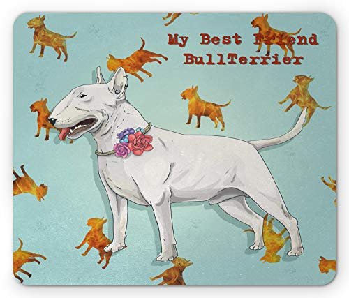Lunarable Bull Terrier Mouse Pad, Animal Print Image with Dog with Floral Collar on Silhouette Pattern, Standard Size Rectangle Non-Slip Rubber Mousepad, Multicolor ()