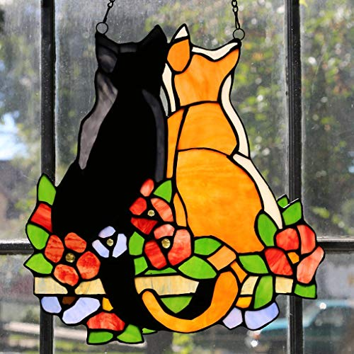 Cats in The Garden' Multicolor Hand-Cut Stained Glass 12.5-inch High Window Panel Blue Green Orange Traditional Transitional Irregular Animals Includes Hardware from Unknown