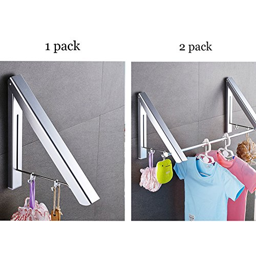 indoor outdoor wall mounted folding clothes drying rack hanger aluminum on 2 8831957470026. Black Bedroom Furniture Sets. Home Design Ideas