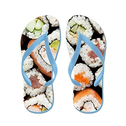 CafePress Sushi Rolls Close Up View - Flip Flops, Funny Thong Sandals, Beach Sandals Caribbean Blue