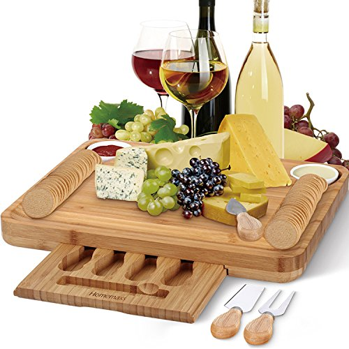 Stainless Steel Cheese Utensils - Bamboo Cheese Board with Cutlery Set, Larger and Thicker Charcuterie Platter & Meat Server with Slide-Out Drawer, 4 Stainless Steel Knife, Server Set - Beautiful Package Personalized Gifts