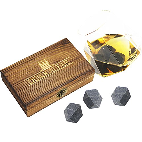 Whiskey Stones - Gift Set - Set of 6 Diamond Shaped Beverage Chilling Stones w/Wooden Storage box, velvet bag& tongs, Makes Water Dilution A Thing of The Past, Great For Keeping Your Beverage Cold (Stone Diamond Set)