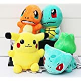Pokemon Pikachu Bulbasaur Squirtle Charmander soft Plush Stuffed Animals Doll Kids Toys 4pcs/Set