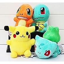 Pokemon Pikachu Bulbasaur Squirtle Charmander soft Plush Stuffed Animals Doll Kids Toys 4pcs/Set