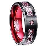 Nuncad Men's 8MM Red Carbon Fiber Black Tungsten Wedding Ring Celtic Dragon Beveled Edge Size 11