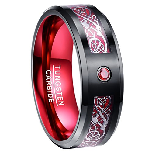 Carbon Fiber Black Tungsten Wedding Ring Celtic Dragon Beveled Edge Size 11 (Dragon Wedding Rings)