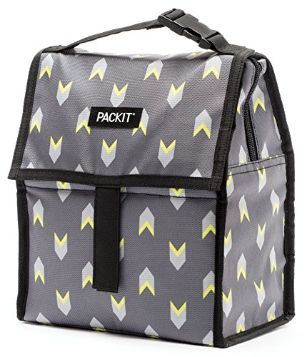 PackIt Freezable Lunch Bag with Zip Closure, Neon Arrows