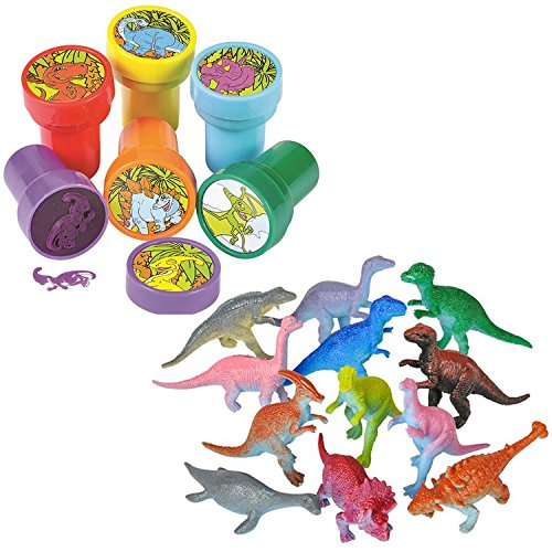 "TwiceBooked 36 Piece Dinosaur Stamper & Action Figure Kit - 24 Self Inking Dino Stampers and 12 3"" Plastic Dino Toy Figures"