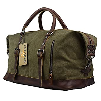 Amazon.com | Estarer Canvas Weekend Bag Oversized Travel Duffle ...