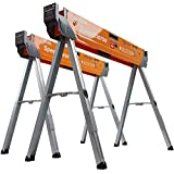 Bora Speedhorse Sawhorse 2-Pack | Heavy Duty Benchhorse Table Stand with Folding Legs and Metal Top for 2x4