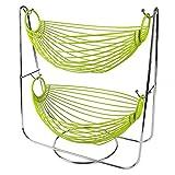 hanging basket 2 tier - Hot Sale Metal Double Hammock 2 Tier Wire Fruit and Vegetables / Kitchen Storage Basket Rack Display Stand (green)