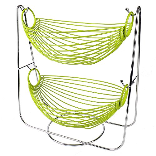 Hot Sale Metal Double Hammock 2 Tier Wire Fruit and Vegetables / Kitchen Storage Basket Rack Display Stand (green)