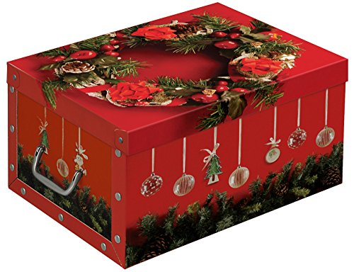 Weihnachtskugeln Aufbewahrung.Xxl Decorative Box With Elegant And High Quality Images Of Christmas And Christmas Baubles In Red With Inserts For A Maximum Of 40 Christmas Baubles