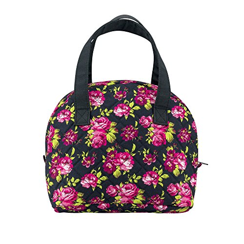 (Sheffield Home Quilted Floral Print Insulated Zippered Double Handle Lunch Tote W/Plastic Container For Women (Floral Print))