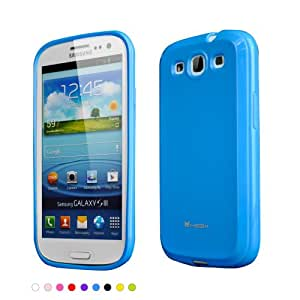 Megix Technology Amber Series Soft TPU Back Cover with Screen Protector for Samsung Galaxy S3 - Retail Packaging - Blue