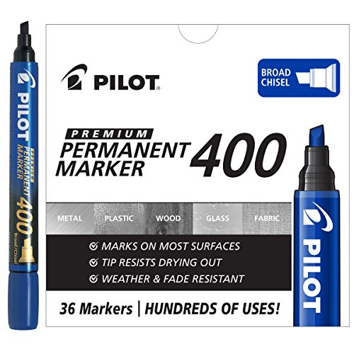 Pilot Premium 400 Permanent Markers, Broad Point, Chisel Tip, Blue Ink, Box of 36 (44145)