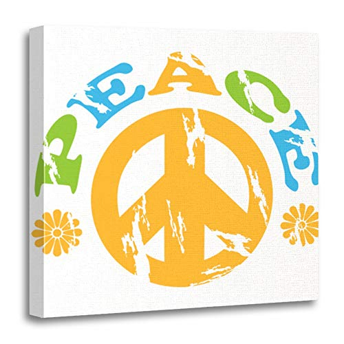 Pictures Peace Symbols - Emvency Canvas Prints Square 12x12 Inches 70S Showing Peace Sign with The Word and Flowers Around It Vintage Symbol Abstract Decoration Wooden Frame Pictures Framed Wall Decor